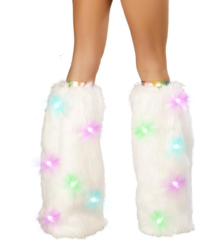 Light-up faux fur Superfluff legwarmer-WHITE