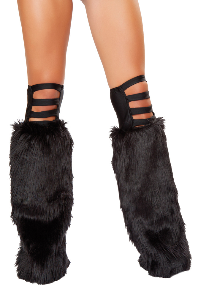 Black Band Faux Fur Legwarmers