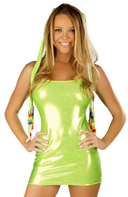 METALLIC DRESS WITH TIE-BACK-LIME