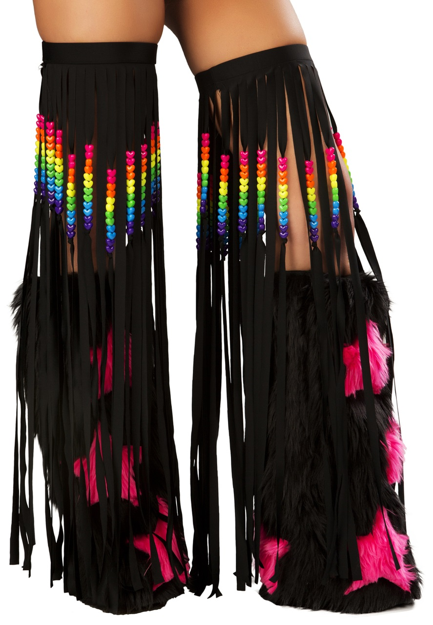 Beaded fringe leggings-BLACK