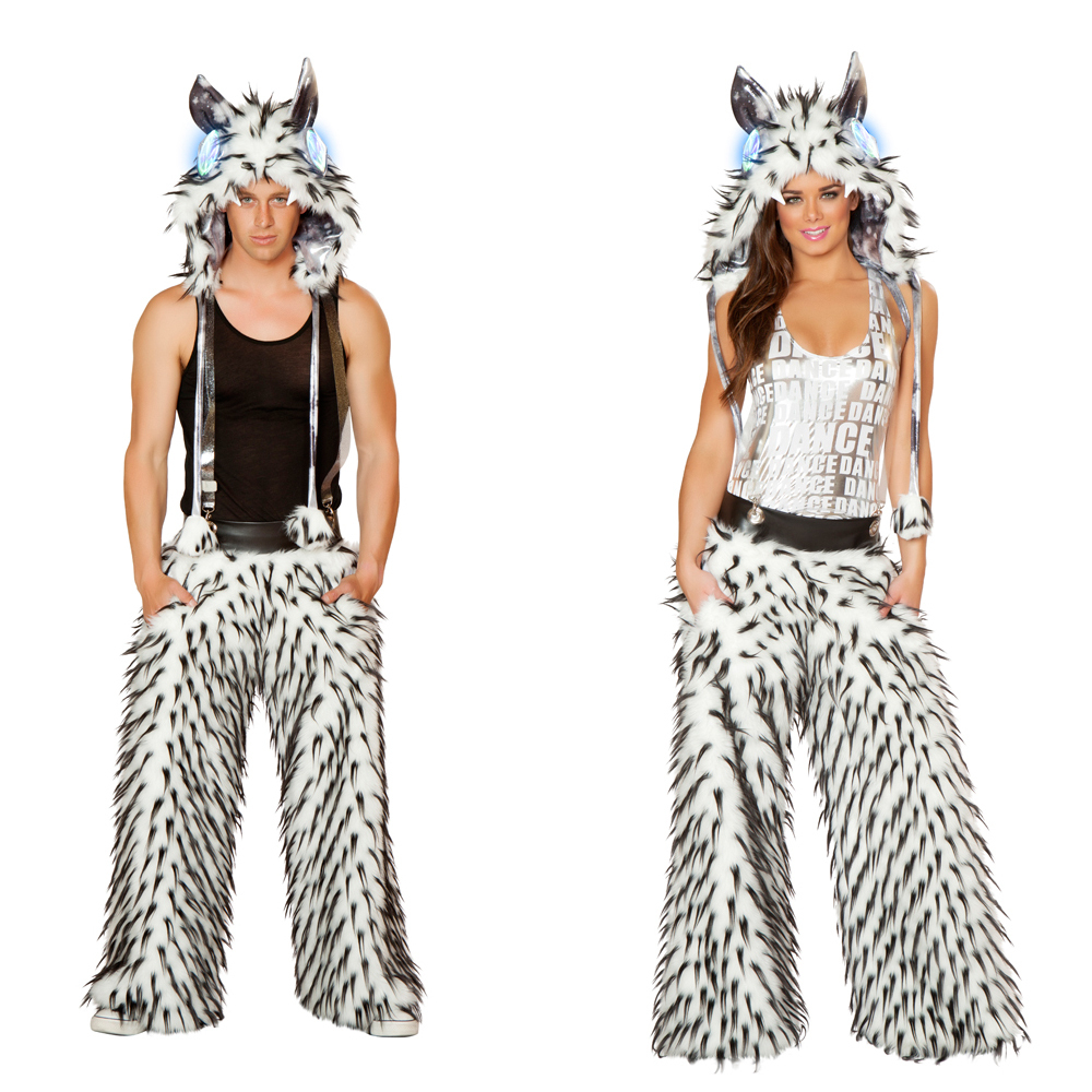 Black Spike White Faux Fur Pant with pockets and suspenders
