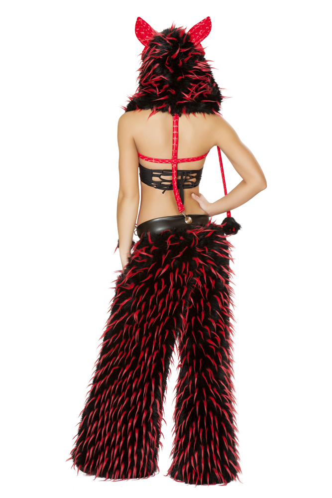 Red Spike White Faux Fur Pant with pockets and suspenders