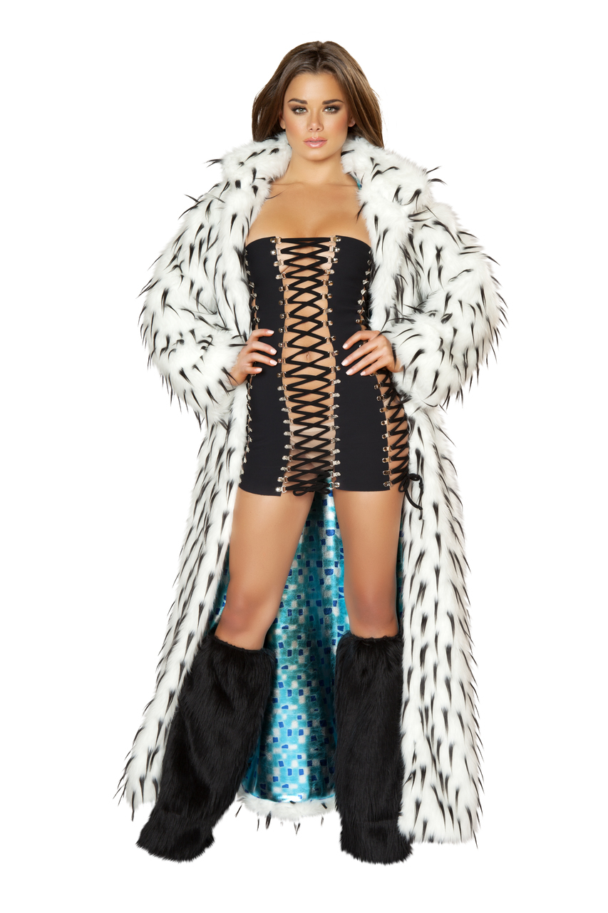 Black Spike White Faux Fur Coat, Fully Lined